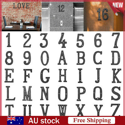 Metal Letters Alphabet Number Cast Iron House Sign Doorplate DIY Cafe Wall Decor