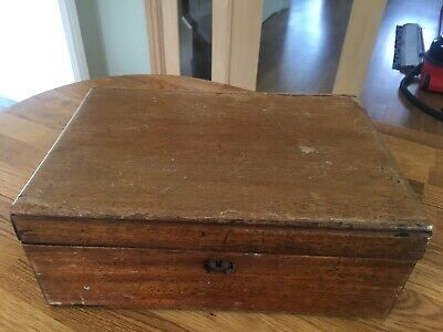 Vintage Oak Writing Box in Need of Renovation, Leather Pouch in Lid, Lock no Key