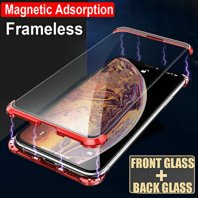 360° Tempered Glass Frameless Magnetic Case Cover for iPhone 7 8Plus X XR XS Max