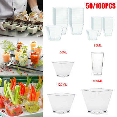 2/3/4/5oz Mini Round Dessert Cups Mousse Cup Plastic Clear Birthday Party