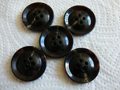 Large 25mm 40L Dark Brown//Ivory 4 Hole Jacket Coat Craft Domed Buttons x 5