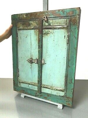 Antique Vintage Indian Reclaimed Shuttered Window Mirror. Teal. Rajasthan.