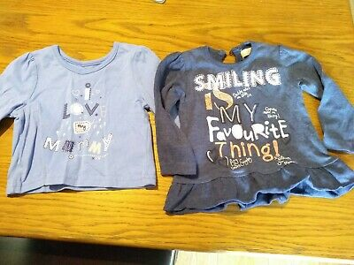 Two Baby Girls Long Sleeved Tops 0-3 Months George And BHS