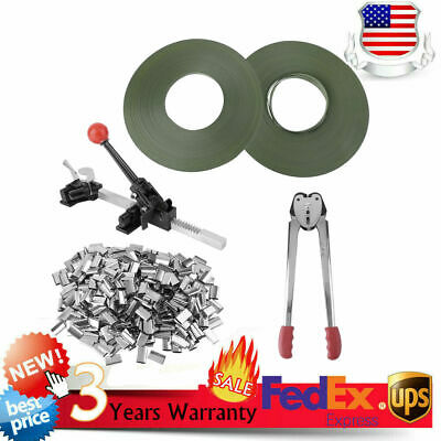 STRAPPING TOOL Complete Kit+Metal Seals+Poly Strap Banding Roll Supply Set TO