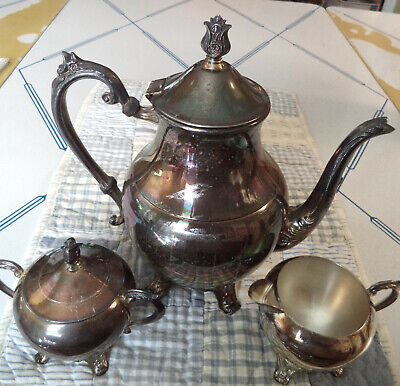 "Vntg FB ROGERS SILVER CO 10"" Coffee/Tea Pot, Sugar Bowl/Lid, Creamer SET"
