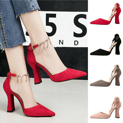 Women Diamante Ankle Chain Strap Pointed Toe Sandals High Block Heel Bride Shoes