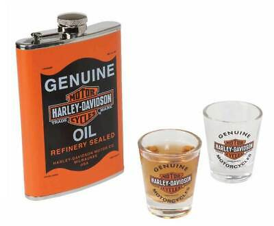 Harley-Davidson Ace H-D Oil Can Flask & Shot Glass Flachmann Set, Orange