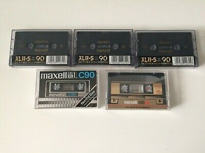 Lot de 5 cassettes MAXELL XLII-S90 Position IECII / Type II Chrome  Neuves