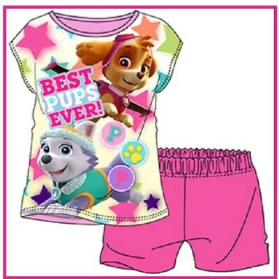 Girls Official PAW Patrol Skye And Everest Character Shorts And Top Pyjama Set