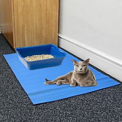 Blue Large Jumbo Foam Cat Kitten Litter Tray Floor Mat Scatter Control Cleaning