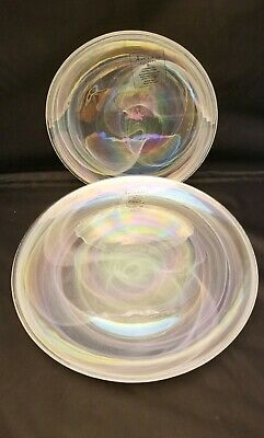 Artistic Accents Pearl White Swirl Iridescent Glass Dinner & Salad Plates Set 12