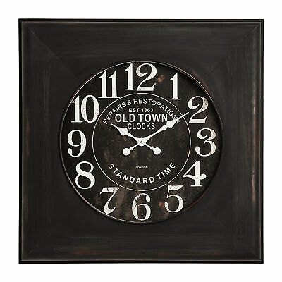 Iron and Glass Distressed Face Wall Clock - Antique design.