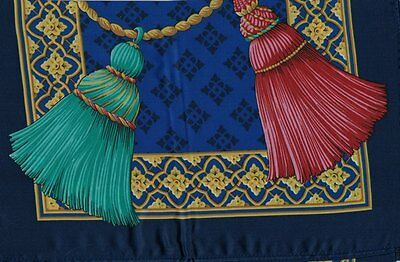 Ladies - Scarf - Royal Blue with Red and Green Tassels