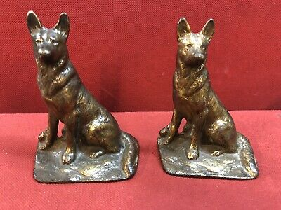 Collectable Solid Vintage German Shepherds Book Ends