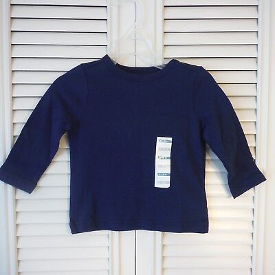Boys Old Navy dark blue tee shirt Long sleeve size 12-18 months crew New tags