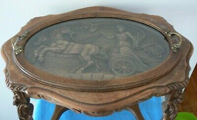 1930's Antique/Vintage Lady Chariot Carved With Glass Top Handles Coffee Table