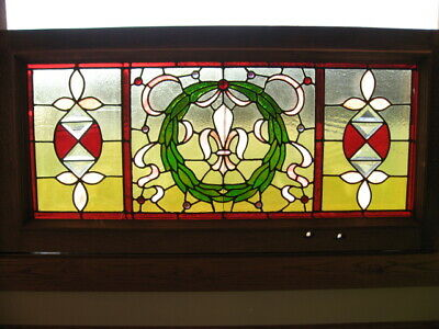 """Beautiful Antique Stained Leaded Glass Transom Window  51"""" x 24-3/4""""  SALVAGE"""