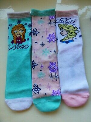Disney Frozen Anna Elsa Girls Socks  Three (3) Pairs  Age 11+ Years Size 4-5.5