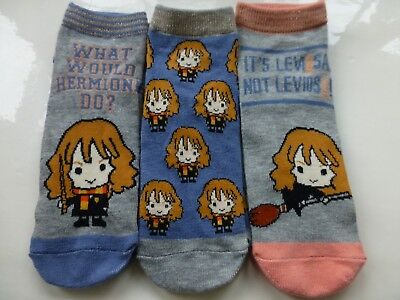 Harry Potter HERMIONE Character Themed Shoe Liner Socks 3 Pack Girls Ladies 4-8