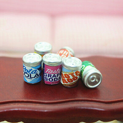 1 Set/6Pcs Miniature Dollhouse Can Bottle Drink Bar Kitchen Decor 1/12 Scale KW
