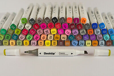 80 Rotuladores permanentes Docktip Colores Alcohol Dual Tips Sketch Twin Marker