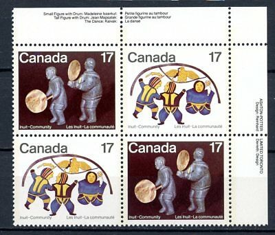 Canada MNH Plate Block #837-38 Incl Variety 837i Red Stitch Inuit UR 1979 K057