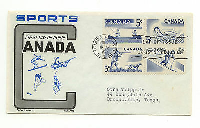 Canada FDC #365-68 Recreation Sports Scarce Ken Boll Cover 1957 E120