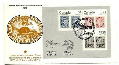 Canada FDC #756a Souv Sheet Capex 78 on Fleetwood Cover Scarce 1978  G102