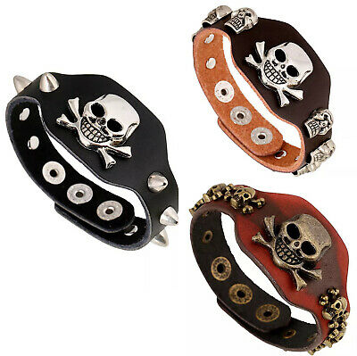 Punk Men's Women's Revit Leather Skull Belt Black Bracelet Cuff Wristband Bangle