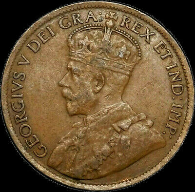 1920 Canada Large Cent 1C George V Key Date Better Grade F VF