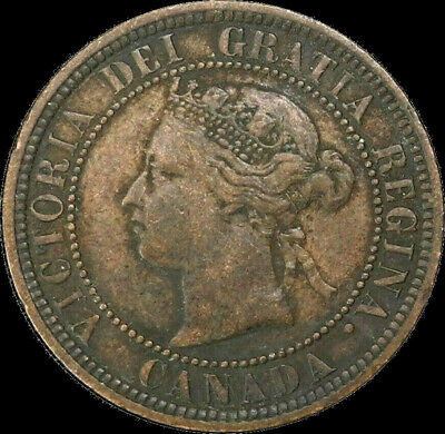 1876 H Canada Large Cent 1C Queen Victoria Key Date Better Grade F VF