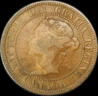 1882 H Canada Large Cent 1C Queen Victoria Key Date Better Grade VG
