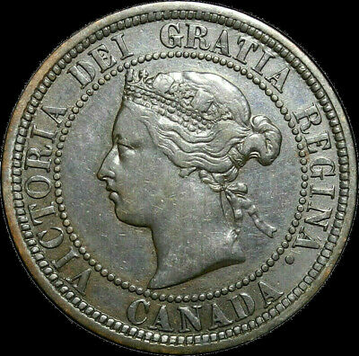 1881 H Canada Large Cent Queen Victoria Variety Double Die Obv Nice Coin!