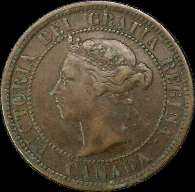 1888 Canada Large Cent 1C Queen Victoria Key Date Better Grade F