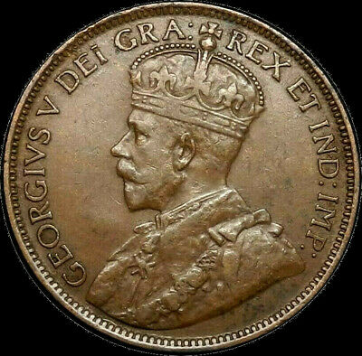 1917 Canada Large Cent 1C George V Key Date Better Grade VF