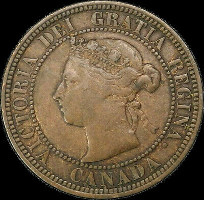 1882 H Canada Large Cent 1C Queen Victoria Key Date Better Grade F