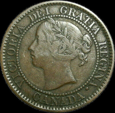 1859 Canada Large Cent Queen Victoria Variety Low 9 Repunched N Nice coin!