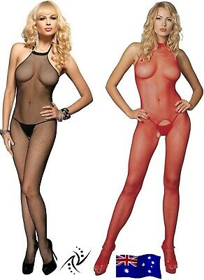 Leg Avenue Black Seamless Crotchless Halter Fishnet Bodystocking Red Purple ~NSW