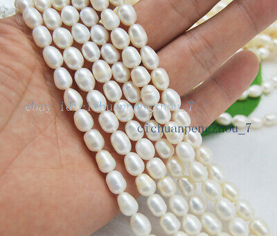 "Real Natural 7-8mm White Freshwater Cultured Rice Pearl Loose Beads 15"" AA"
