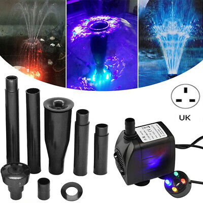 15W Aquarium Pump Pool Fish Pond LED Submersible Pump Fountain Maker 1000L/h USA