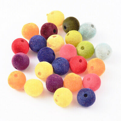 360PCS Round Resin Beads Flocky Style For Craft Jewelry Making Mixed Color 14mm