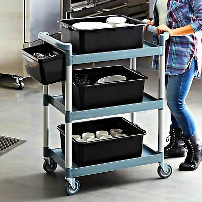 Utility Bussing Cart Kitchen Trolley with Three Shelves 32 x 16 Durable Gray