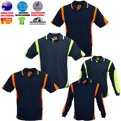 High-Vis Safety Polo ARM PIPING PANEL WORK WEAR COOL DRY LONG / SHORT SLEEVE