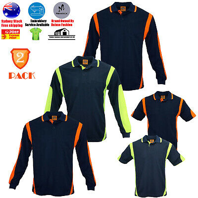 2 PACK High-Vis Safety Polo ARM PIPING PANEL WORKWEAR COOL DRY LONG SHORT SLEEVE