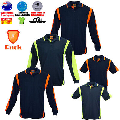 3 PACK High-Vis Safety Polo ARM PIPING PANEL WORKWEAR COOL DRY LONG SHORT SLEEVE