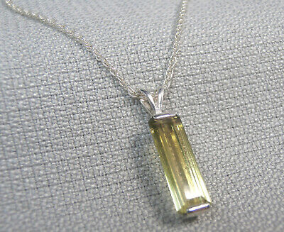 TOURMALINE- Elegant Faceted Long Vertical Yellow .925 Sterling Necklace 2.64ct