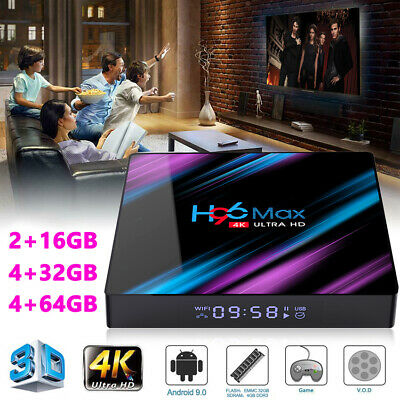 H96 MAX Android 9.0 OS Smart TV BOX 4G RAM 32/64GB Quad Core 1080p 4K LED Screen