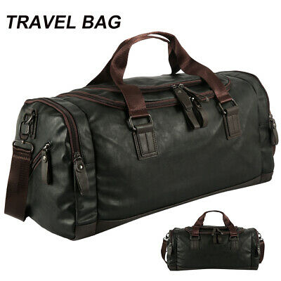 Men Leather Duffle Weekend Bag Gym Travel Bag Luggage Leather Handbag Holdall