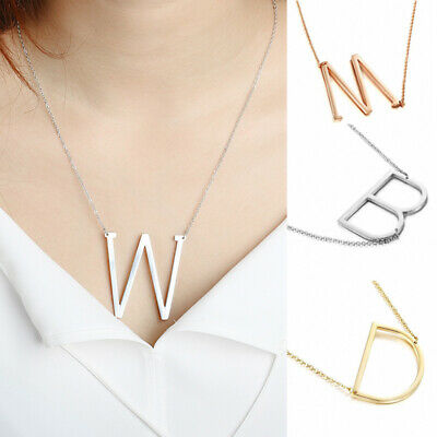 Alloy Initial Large 26 A-Z Letters Pendant Necklace Women Jewelry Fashion