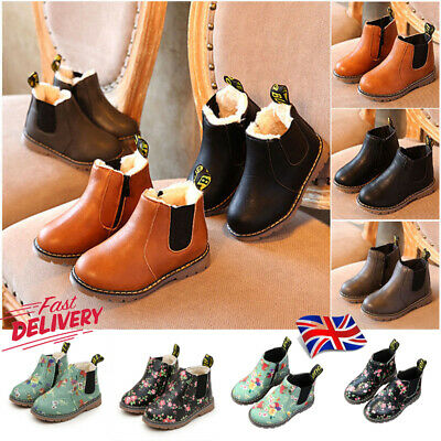 UK Kids Boys Girls Winter Warm Floral Fur Lined Shoes Ankle Boots Chelsea Shoes